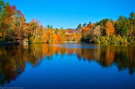 blue lake and autumn reflections