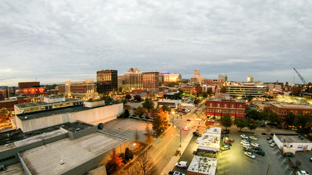 aerial view of greenville south carolina skyline cityscape