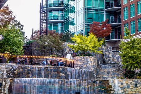 street scenes around falls park in greenville south carolina