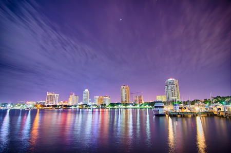 st petersburg florida city skyline and waterfront at night
