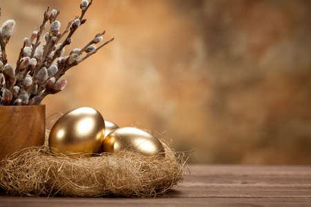 Easter - Golden eggs in the nest