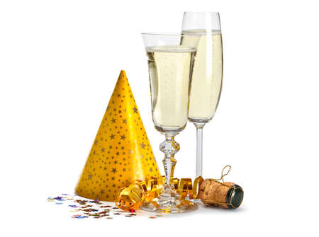Happy new year - champagne and serpentine