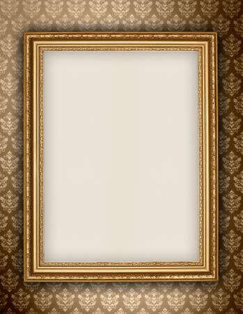 Photo pour Golden frame on wallpaper background - image libre de droit