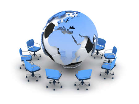 Abstract illustration - soccer ball, earth globe and office chairs