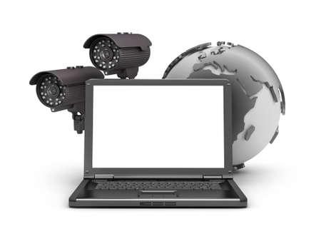 Photo pour Security cameras, laptop and earth globe - image libre de droit