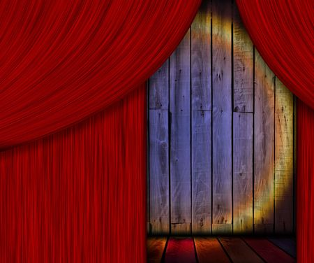 Wooden Stage Behind Red Curtain
