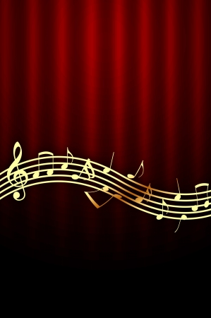 Golden Music Notes on Dark Red Background