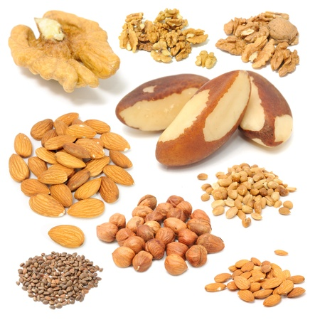 Set of Nuts (Walnuts, Brazil Nuts, Almonds, Peanuts, Hazelnuts and Pine Nuts) Isolated on White Background