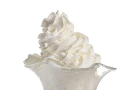 Vanilla Ice Cream in Bowl on White Background