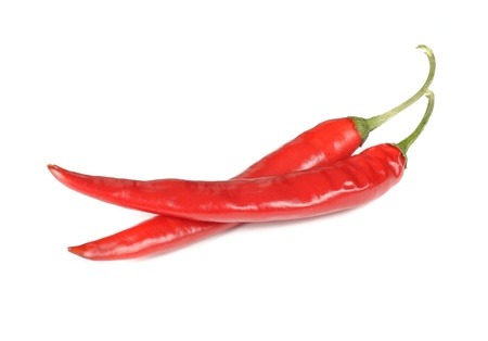 Red Spicy Chili Peppers Isolated on White Background