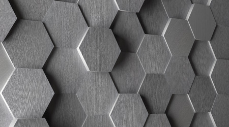 Photo for 3D Hexagonal Aluminum Tile Background - Royalty Free Image