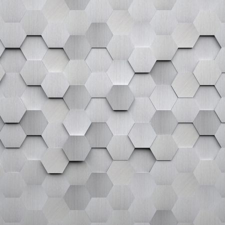 Photo pour Brushed Metal Hexagon Background - image libre de droit