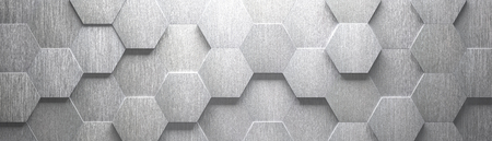 Photo pour Wide Brushed Metal Hexagon Background (Site head) (3d illustration) - image libre de droit