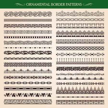 Set of vintage style ornamental border frame patterns vector