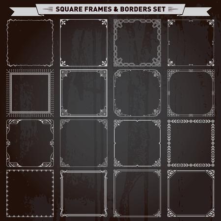 Ilustración de Decorative square frames and borders set vector - Imagen libre de derechos
