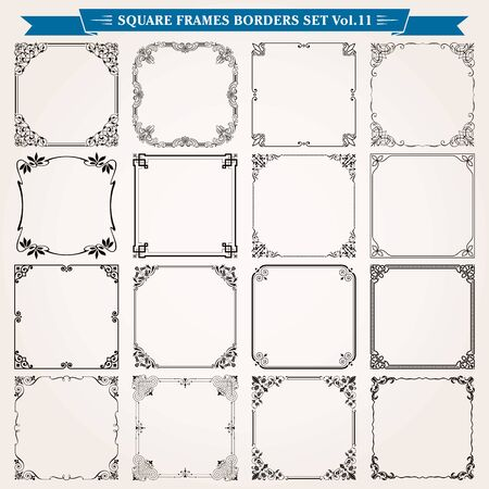Illustration pour Decorative square frames borders backgrounds design elements set 11 vector - image libre de droit