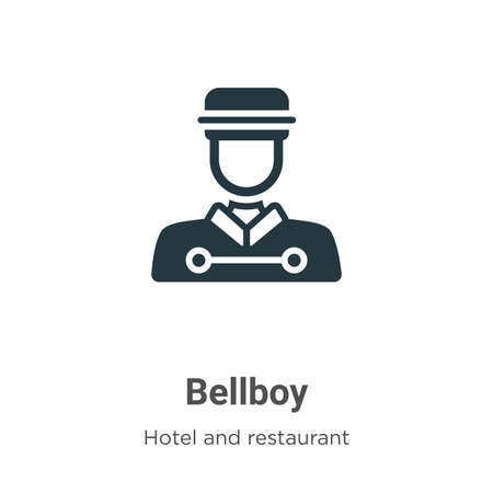 Illustration pour Bellboy glyph icon vector on white background. Flat vector bellboy icon symbol sign from modern hotel collection for mobile concept and web apps design. - image libre de droit