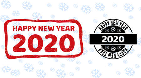 Happy New Year 2020 stamp seals on winter background with snowflakes in clean and draft versions for New Year.