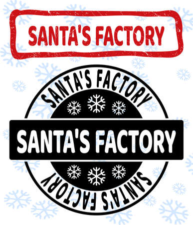 Santa'S Factory stamp seals on winter background with snowflakes in clean and draft versions for Xmas. Red vector rubber imprint with Santa'S Factory text with dust texture in draft rectangle shape.