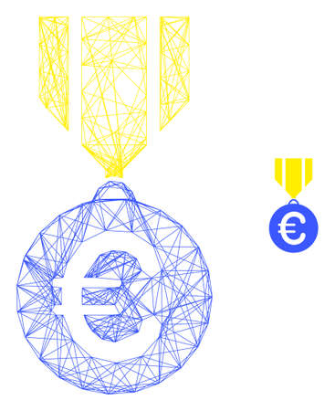 Illustration pour Web network euro medal vector icon. Flat 2d carcass created from euro medal pictogram. Abstract carcass mesh polygonal euro medal. Net carcass 2D network in vector format, on a white background. - image libre de droit