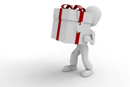 3d man holding a big present box