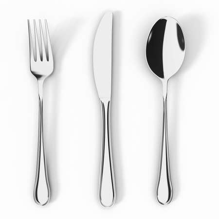 Fork knife and spoon isolated on white background