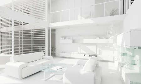 3d clay render of a modern interior design