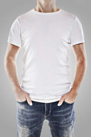 Young man wearing a blank white t-shirt