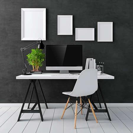 Photo pour 3d modern computer workplace - image libre de droit