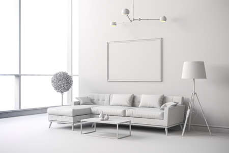 Foto de 3d render of white interior room setup - Imagen libre de derechos