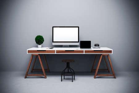 Photo pour 3d render of modern computer workplace setup  - image libre de droit