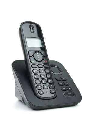 Modern black digital cordless phone with answering machine isolated on the white background