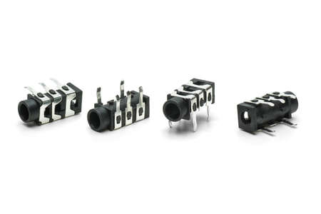 Four female connectors for 3 5mm jacks  isolated on the white background