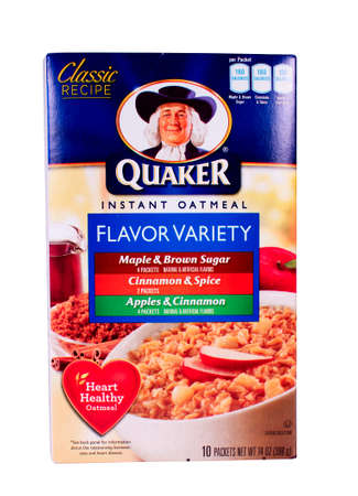 RIVER FALLS,WISCONSIN-FEBRUARY 11,2014: A variety box of Quaker instant Oatmeal. Quaker Oats is an American food company based in Chicago and owned by PepsiCo.