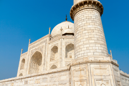 Particular of the Taj Mahal in the Indian city of Agra