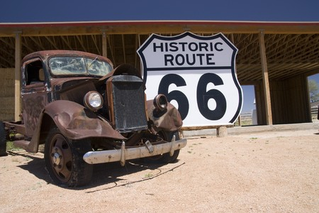 Old car in the famous route 66 road in USA