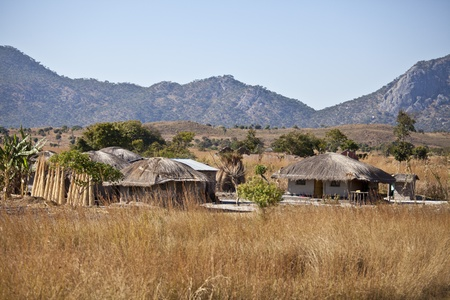 View of  an African village with small huts