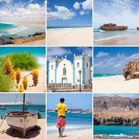 collage photo composition of famous Boavista island of Cape Vert