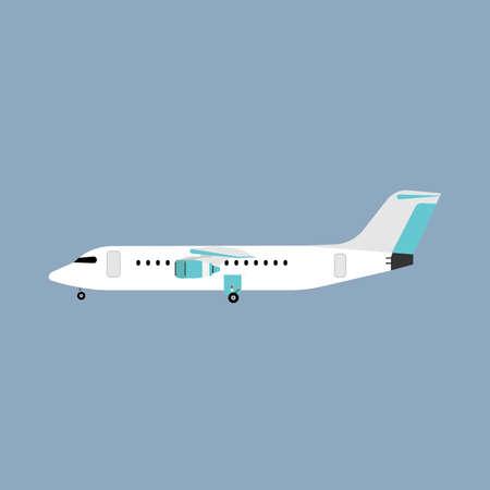 Illustration for Airliner transportation journey white plane side view. Tourist travel plane vector flat - Royalty Free Image