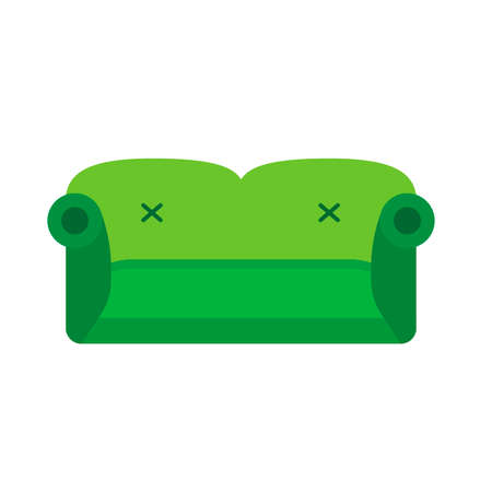 Sofa Green Front View Vector Flat Icon