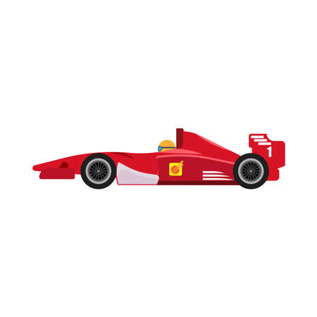 red racing car side view vector icon. Championship one motorsport extreme vehicle drive