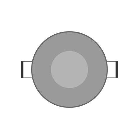 Illustration pour Pan above view dinner cuisine equipment object. Cooking flat tool stainless vector icon kitchen pot top - image libre de droit