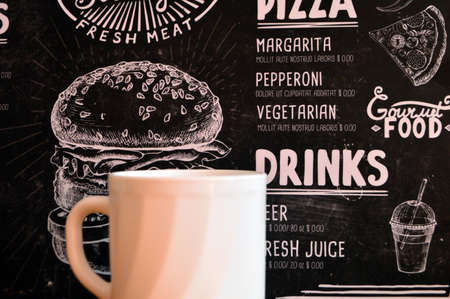 Photo pour White cup drink on black background. Hot beverage breakfast close up food photography - image libre de droit