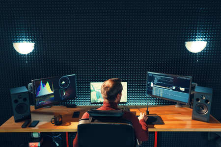Foto de Video editing. Professional editor adding special sound effects. Back view of young man watching graphs on monitors. Copy space on gray wall - Imagen libre de derechos