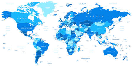 Illustration pour Highly detailed vector illustration of world map including borders countries and cities - image libre de droit