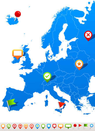 Europe map and navigation icons - Illustration.Vector illustration of Europe map and navigation icons.