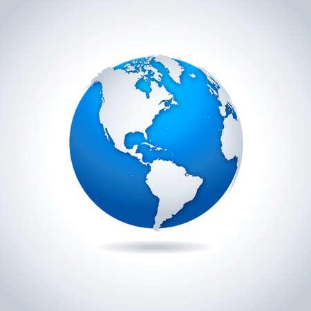 Illustration pour Globe icon. Vector illustration of blue-white globe symbol with drop shadow effect. - image libre de droit