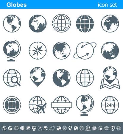 Globes Icons and Symbols - Illustration. Vector set of globe icons.