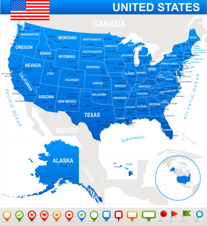 United States USA - map, flag and navigation icons - illustration. USA map and flag - highly detailed vector illustration.