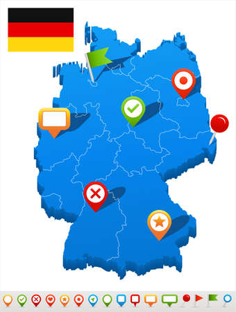 Vector illustration of Germany map and navigation icons.